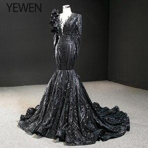 Image 3 - Dubai Nero O Collo Manica Lunga Abiti Da Sera 2020 Della Sirena di Paillettes Bordare di Lusso del Vestito Convenzionale YEWEN 67116