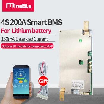 JBD 4S BMS inteligente de 200A, compatible con bluetooth, ion de litio, LiFePo4, 12v, protección de la batería de litio, placa, balance de 160mA 1