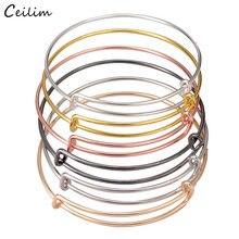 2020 novo lote por atacado 10 pçs ouro prata cor expansível liga cabo fio pulseira para mulheres artesanal simples jóias diy