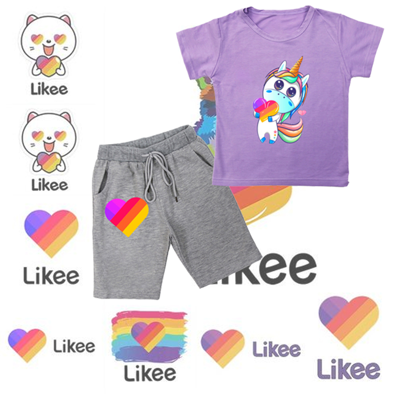 Likee summer kids sets boys girls cartoon t shirts+shorts 2pcs