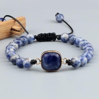Pulsera trenzada de piedra de sodalita azul de 6 y 8MM brazalete con colgante tipo
