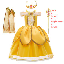 Princess Costume Cosplay Dress-Up Fantasy Party Girls Kids Halloween Ball-Gown Belle