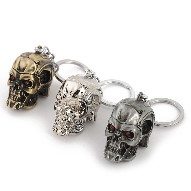 Moive Terminator keychain Skull shape fashion personality zinc alloy keyring car pendant key holder chaveiro men birthday gift image