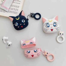 Case For AirPods Pro Cute Luna Cat Earphone Cases For Apple Airpods3 Accessories Protect Cover Finger Ring Strap Unique Luna Cat(China)