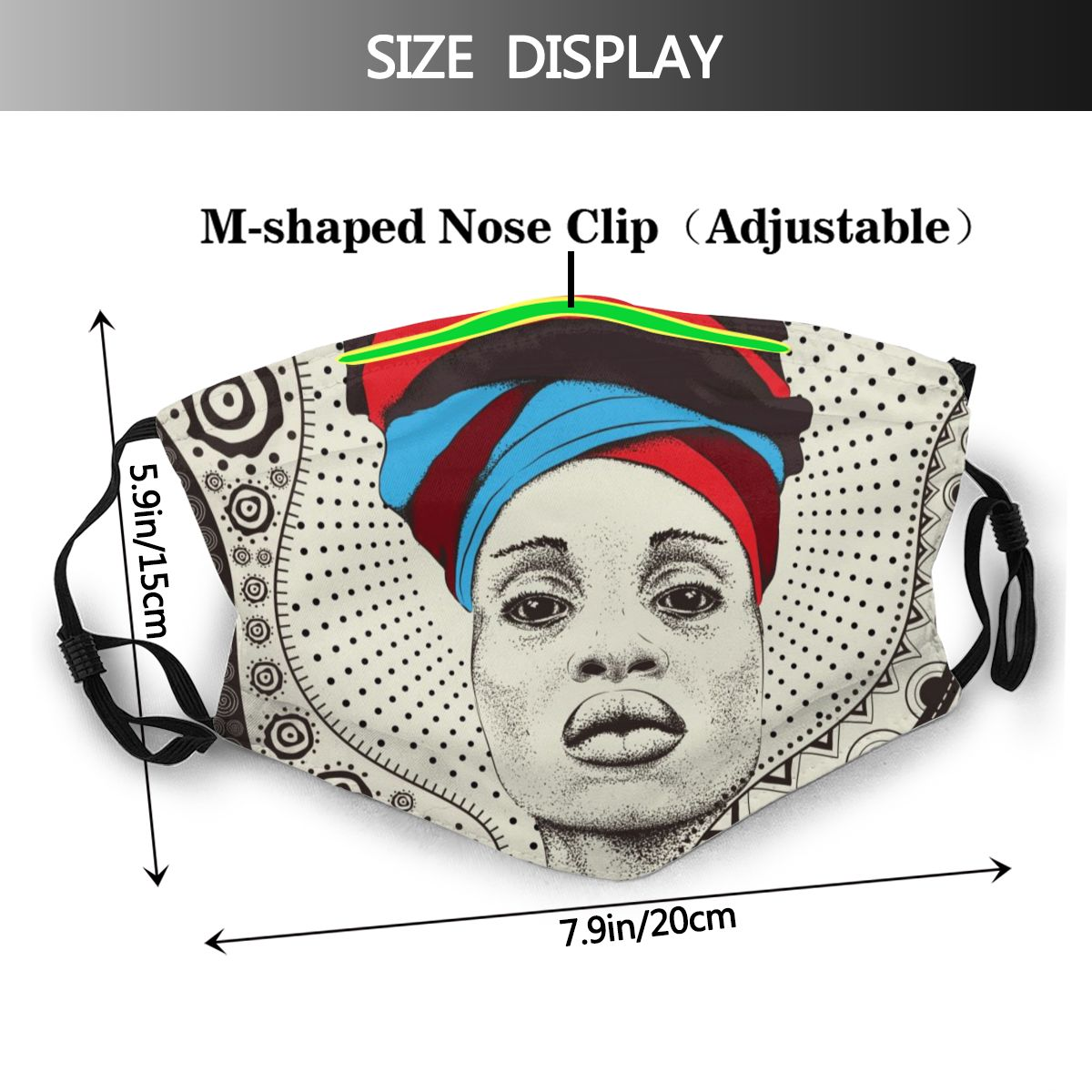 African Woman With African Turban Face Mouth Mask Cover Anti Dustproof Washable Reusable Adult Mouth Masks Mascarilla