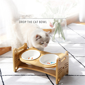Cartoon Pets Double Bowl Dog Cat Food Water Feeder Stand Raised Ceramic Dish Bowl Wooden Table Pet Supplies