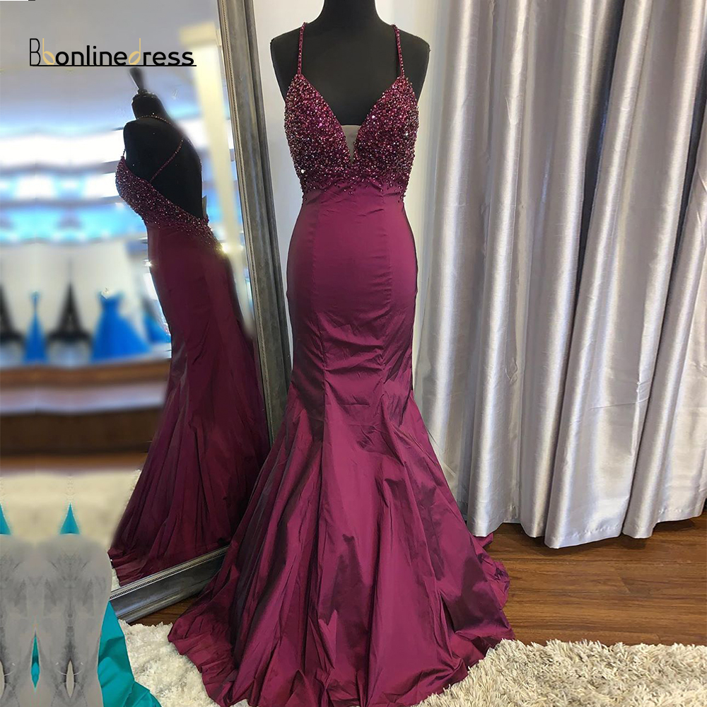 Party-Gowns Mermaid Prom Dress Sequin Hand-Beaded Long Prom Dresses Deep V-Neck Plus Size Special Occasion Formal Gown vestido