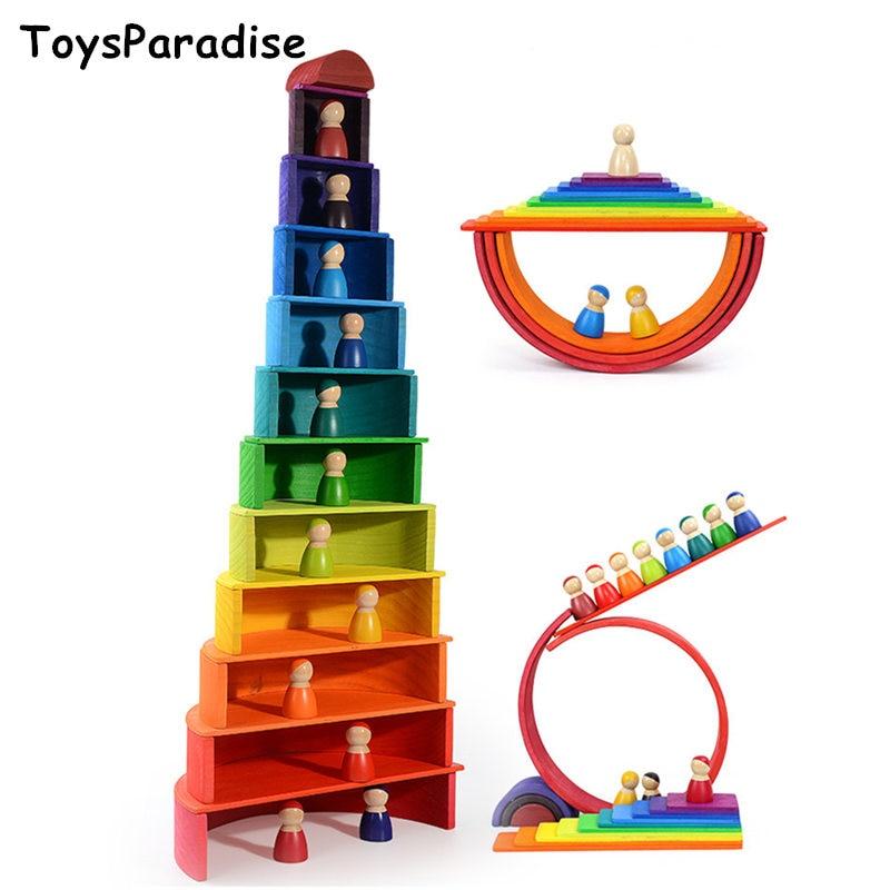 Dropshipping Simulation 12Pcs Rainbow Blocks Set Square Building Blocks Wooden Toys For Kids Semicircle/Dolls Educational Gift