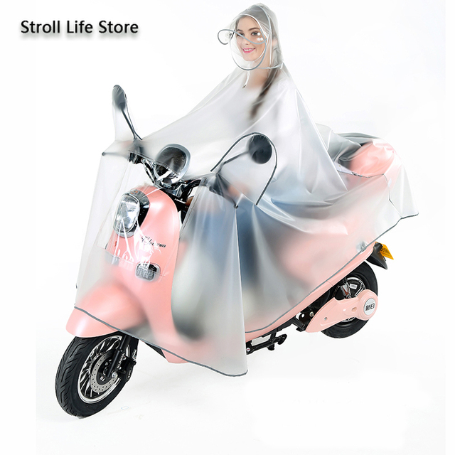 Electric Motorcycle Clear Rain Coat Women Poncho Bicycle Thickened Riding Transparent Raincoat Plastic Suit Impermeable Gift 5