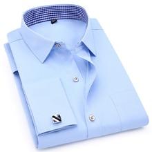 الفرنسية الكفة الرجال فستان بكم طويل قميص سليم صالح الذكور الأعمال الاجتماعية أزرار أكمام عادية الزفاف مأدبة قميص جودة عالية