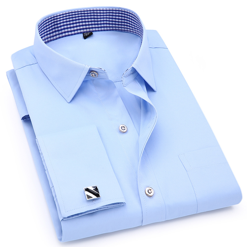 French Cuff Men's Long Sleeve Dress Shirt Slim Fit Male Social Business Casual Cufflinks Wedding Banquet Shirt High Quality