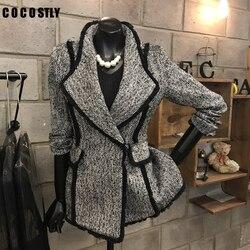 Korean Blazer Womens Wool Coats Temperament Wool Suit Jacket Single Button Long Sleeve Slim Woolen Jackets Women Tops Autumn