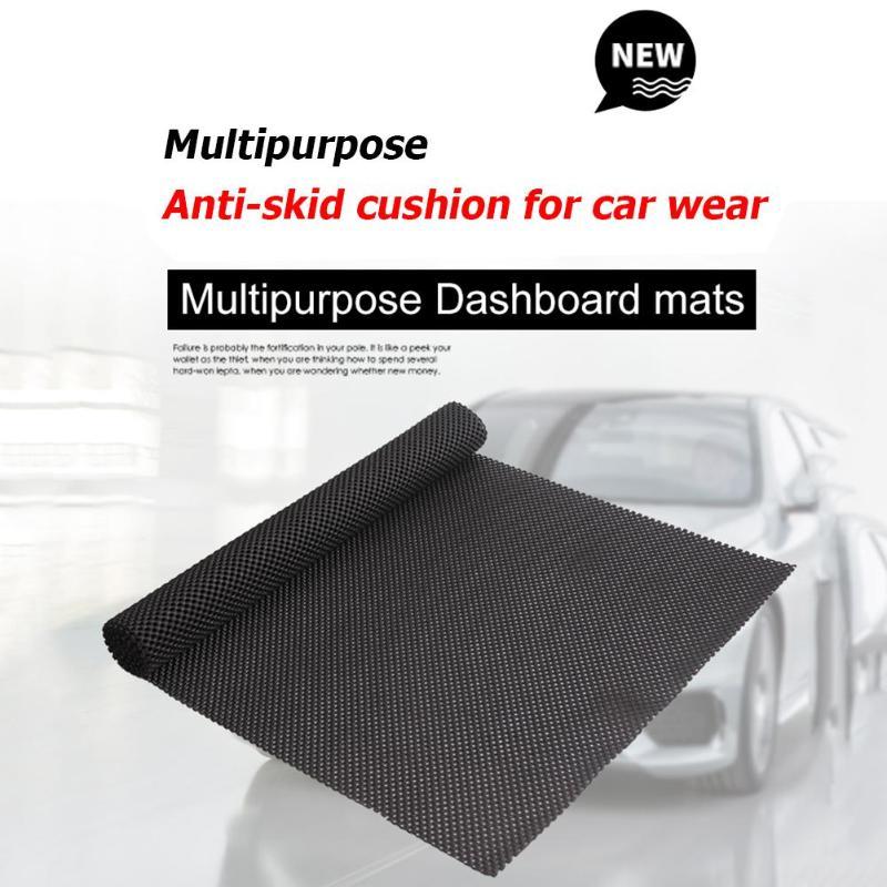 Universal Multipurpose PVC Foam Car Dashboard Trunk Sticky Mat Anti-Slip Mesh Fabric Pad For Phone Black 150*50cm