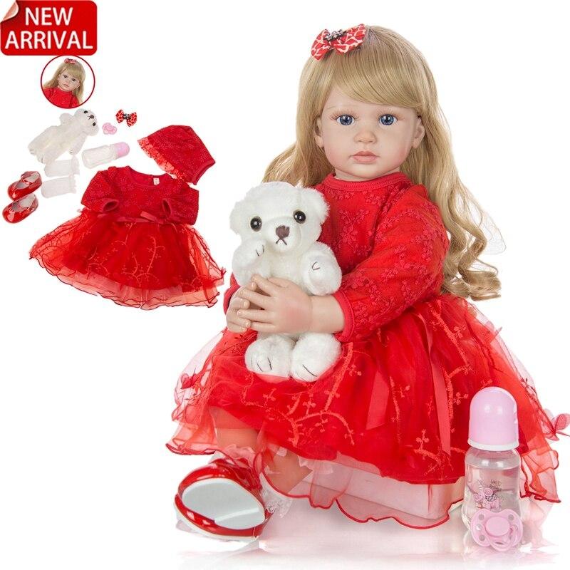 Кукла реборн 24 дюйма, элегантная мягкая виниловая кукла принцессы, Реалистичная кукла-младенец, 60 см