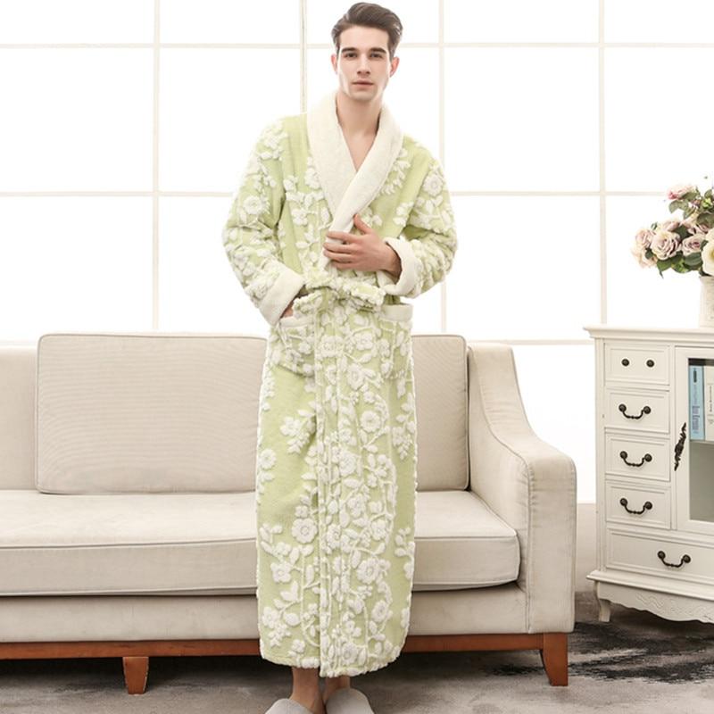 CEARPION Women Winter Bathrobe Thick Warm Kimono Bathrobe Nightgown Femme Sleepwar Ankle-Length Night Wear Plus Size 3XL