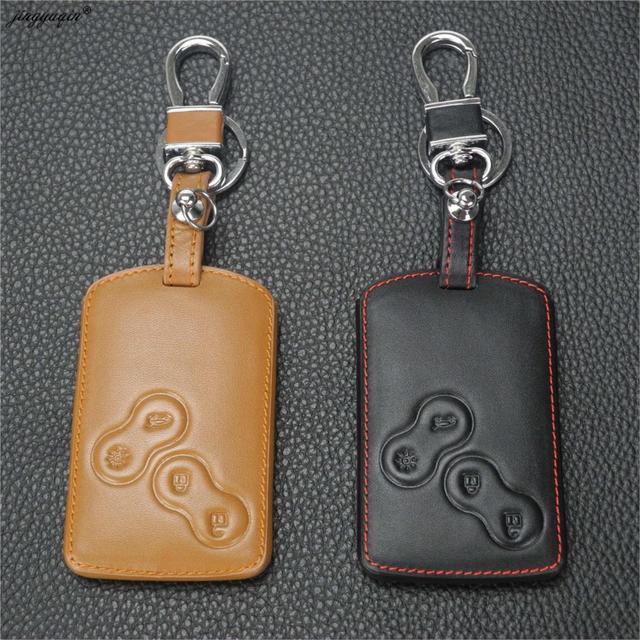 Jingyuqin capa de chaveiro em couro, com suporte para renault clio scenic megane duster sandero capturador twingo koleos, capa protetora