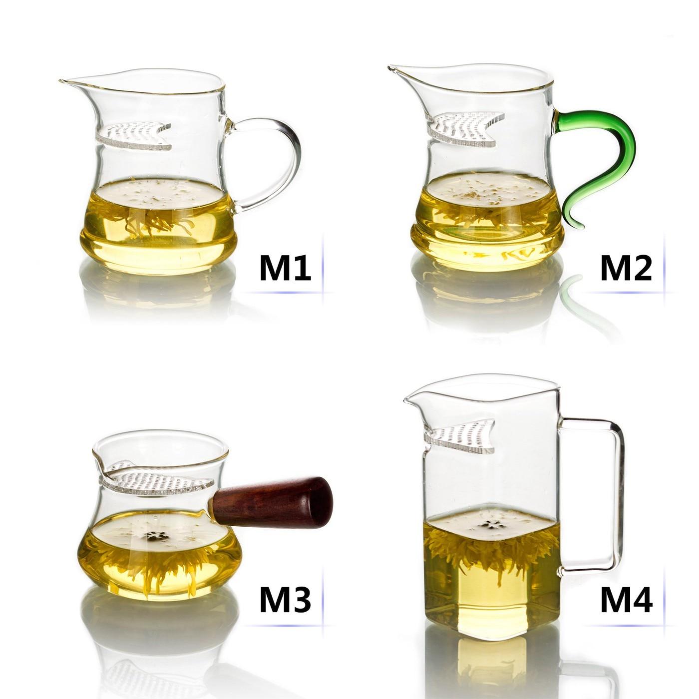 أنواع إبريق الشاي الزجاج الشفاف المقاوم للحرارة المدمج في تصفية مع مقبض اليدوية عادلة القدح تشا هاي الشاي
