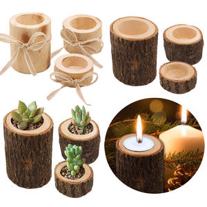 Wooden Candlestick Table-Decoration Flowerpot Rustic Wedding Plant for Succulent