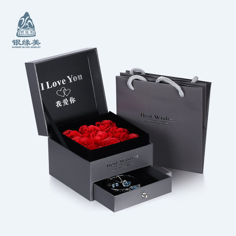 Romantic Rose Double Layer Design Jewelry Gift Box High-End Drawer Jewelry Box Jewelry Exquisite Gift Box-