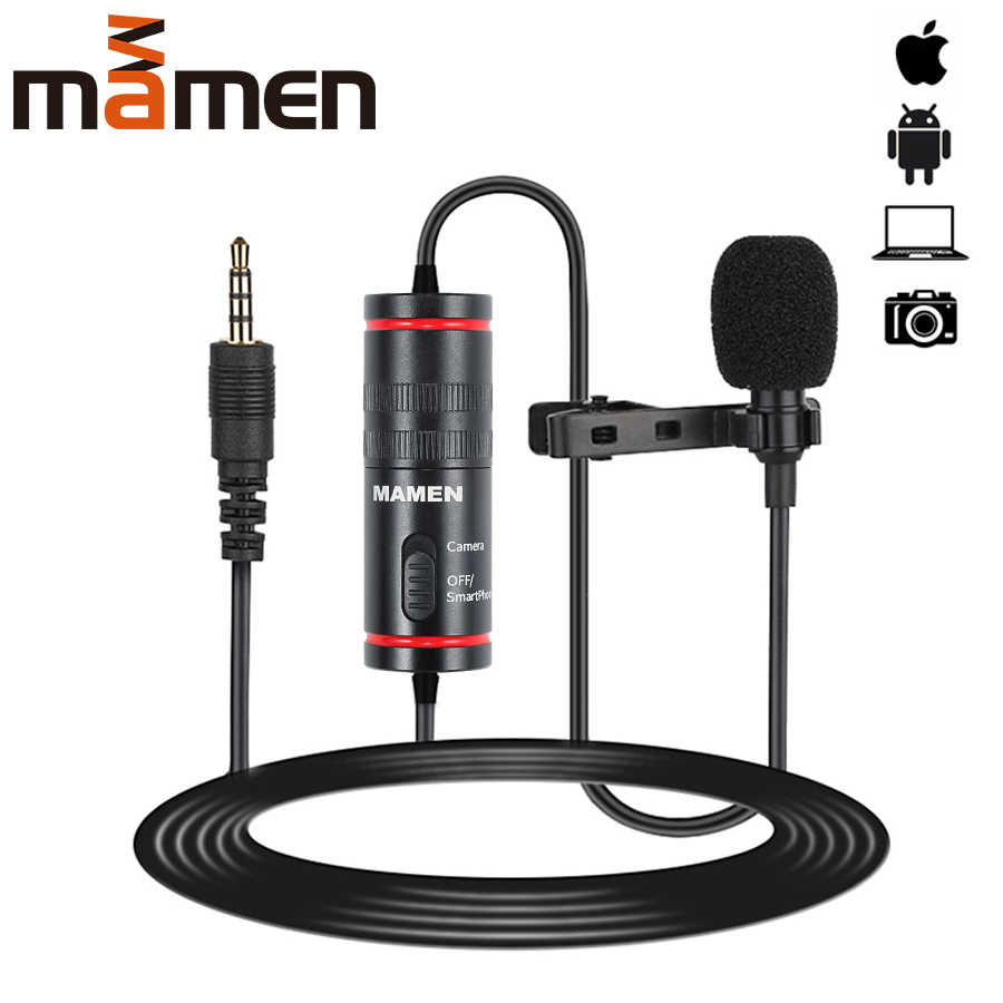 Mamen 3.5 Mm Audio Video Record Lavalier Revers Microfoon Voor Iphone Android Mac Vlog Microfoon Voor Dslr Camera Camcorder Recorder