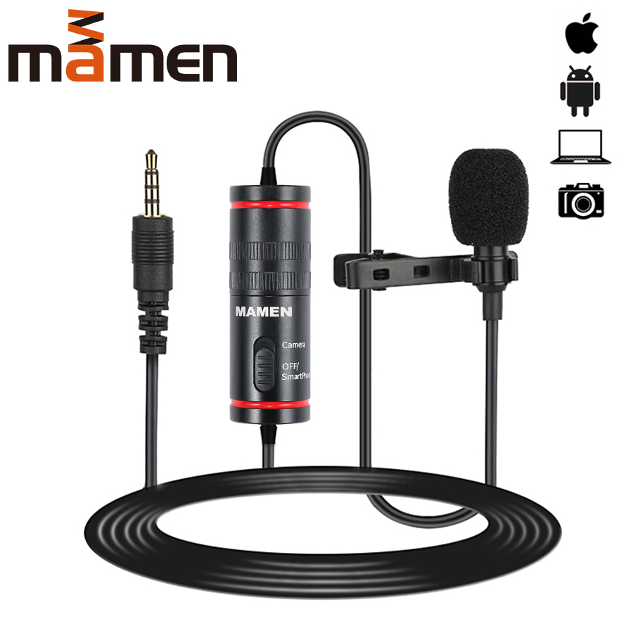 MAMEN 3.5mm Audio Video Record Lavalier Lapel Microphone for iPhone Android Mac Vlog Mic for DSLR Camera Camcorder Recorder image