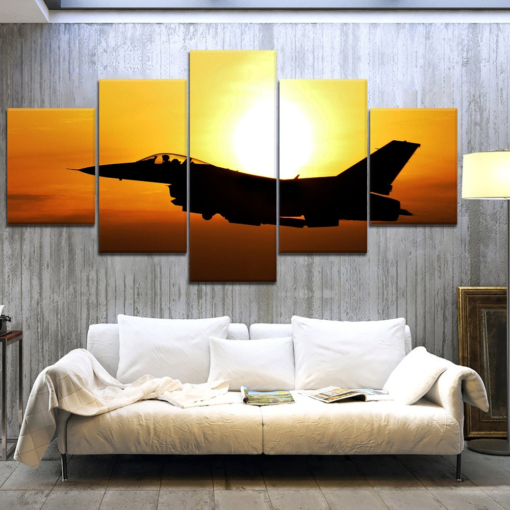 5 Panels Modular Jet Fighter Picture Home Room Decor HD Paintings on Canvas Wall Art for Decorations
