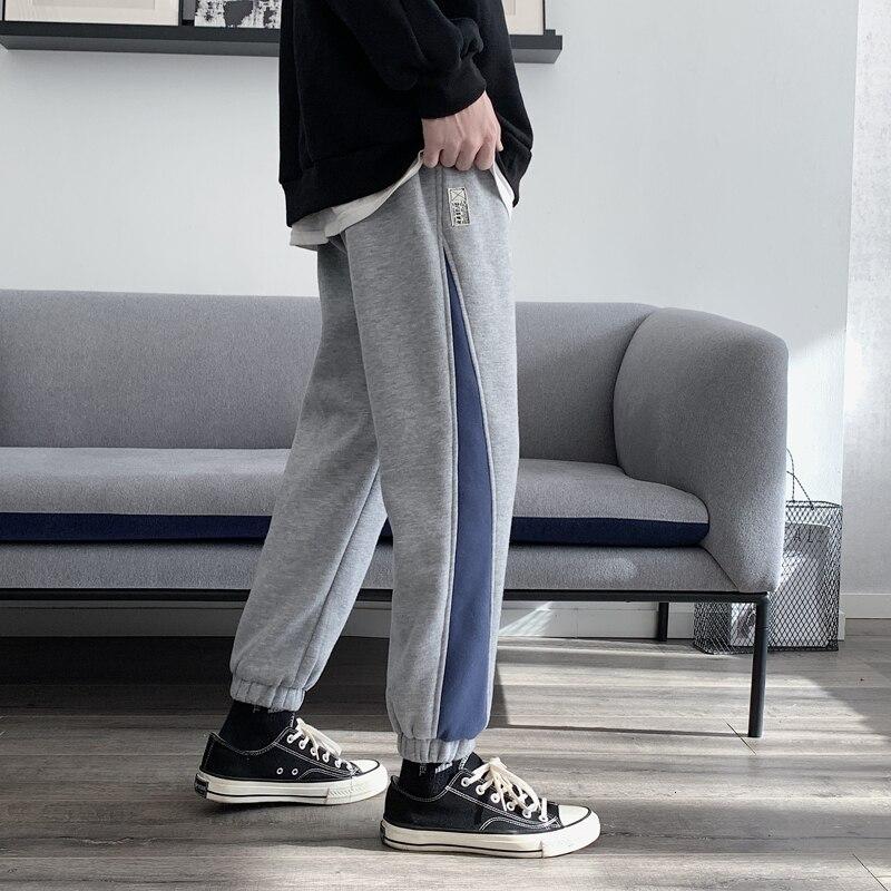 Winter Plus Velvet Thick Sweatpants Men's Fashion Hit Color Casual Joggers Pants Men Streetwear Hip Hop Loose Track Trousers