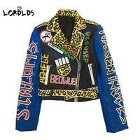 LORDLDS Women Leather Jacket New Streetwear Biker Punk Style Ladies Moto Printed Jackets coat outwear for woman