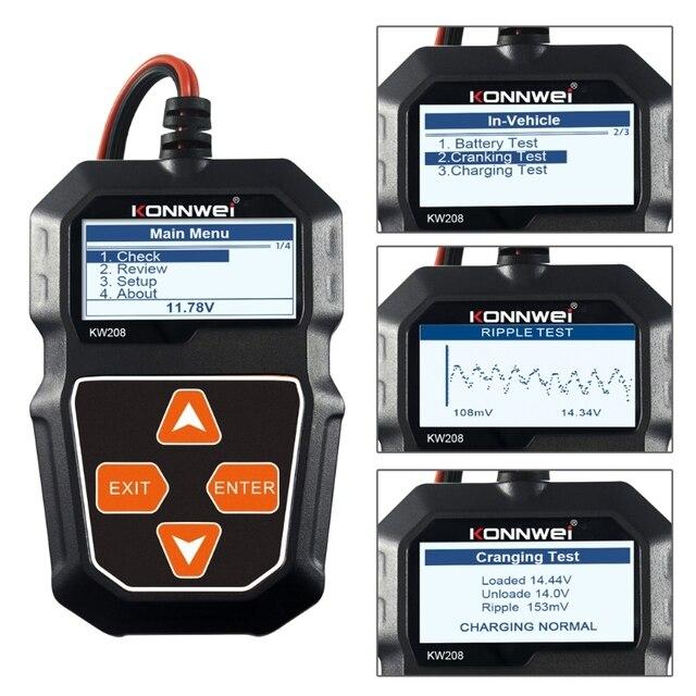 جهاز اختبار بطارية السيارة KW208 ، محلل الشحن ، 12V 100 2000CCA ، X6HF