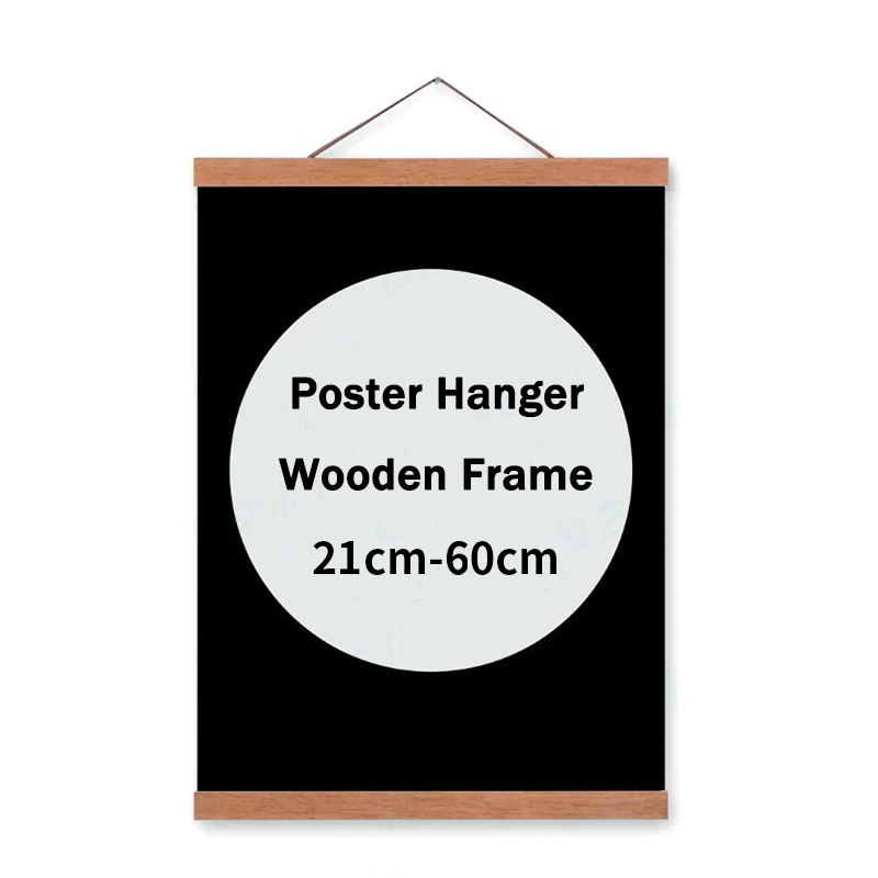BANMU 21cm-70cm Home Decor Wood Frame Reusable Magnetic Canvas Paintings Poster Frame Wooden Paintings Hanger with Magnet
