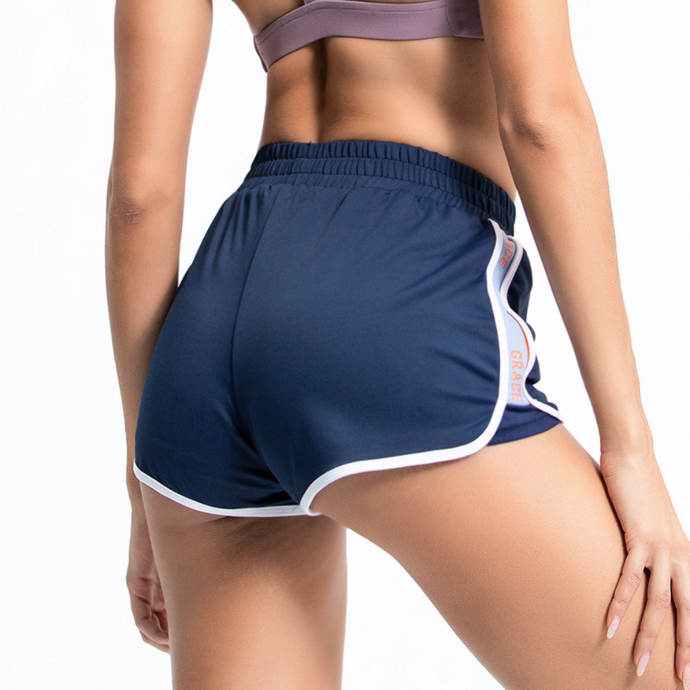 EFY26K6775 Patchwork 2 In 1 Sports Hot Shorts Side Slit Running Shorts Women Yoga Shorts Wide Waist Training Fitness Bottom