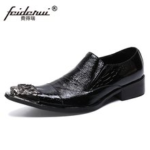 Szie 37-46 Metal Toe Slip on Man Wedding Banquet Party Loafers Patent Leather Handmade Men's Cap Toe Prom Casual Shoes SL767(China)