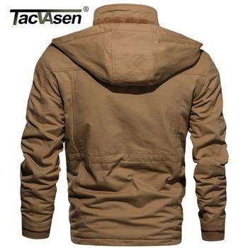 TACVASEN Winter Thick Cotton Cargo Jacket Mens Fleece Lining Jacket Parka Coat Thermal Military Hooded Jacket Casual Windbreaker 2