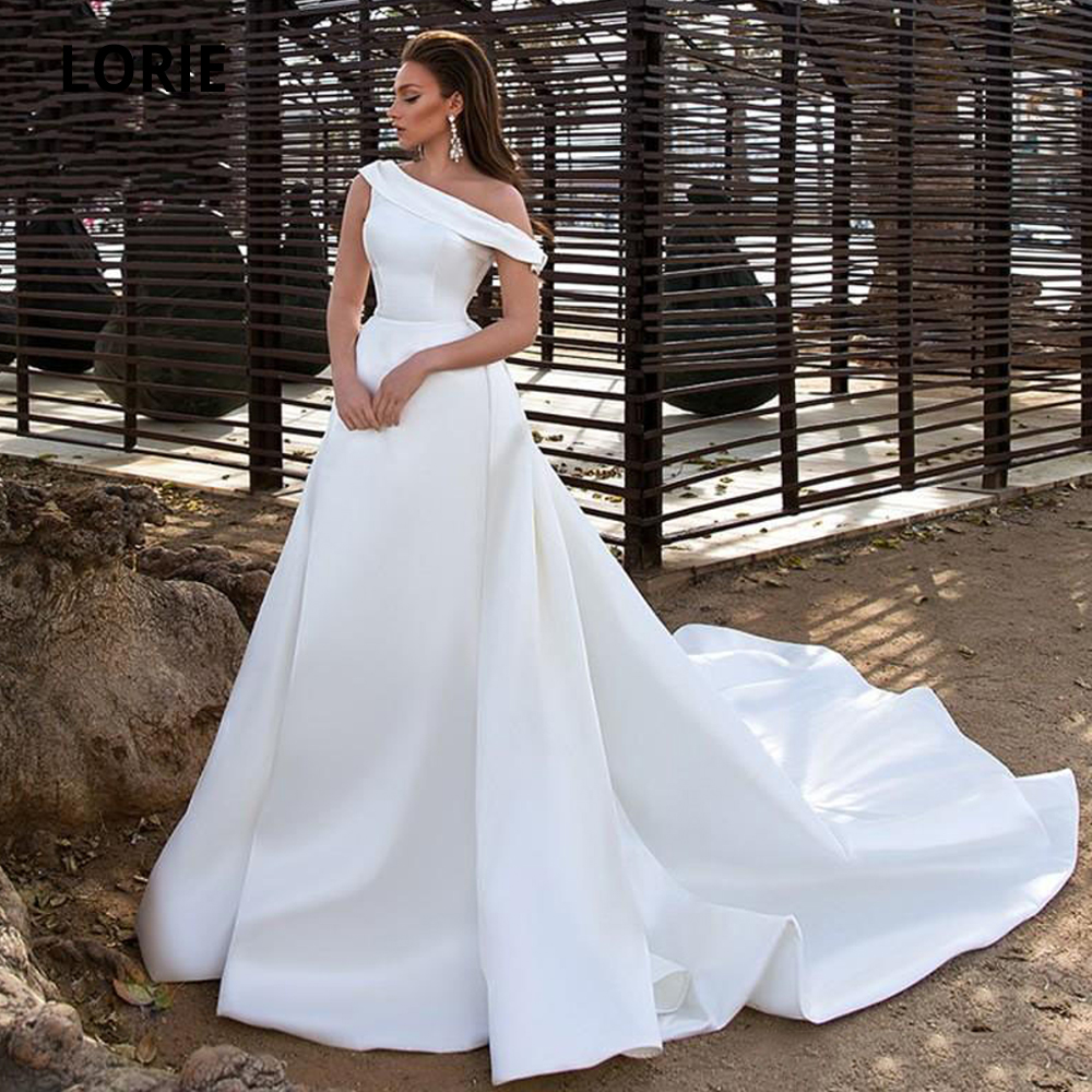 LORIE Satin Wedding Dresses With Pocket 2020 One Shoulder White Bridal Gowns Simple Elegant Wedding Gowns Cathedral/ Royal Train