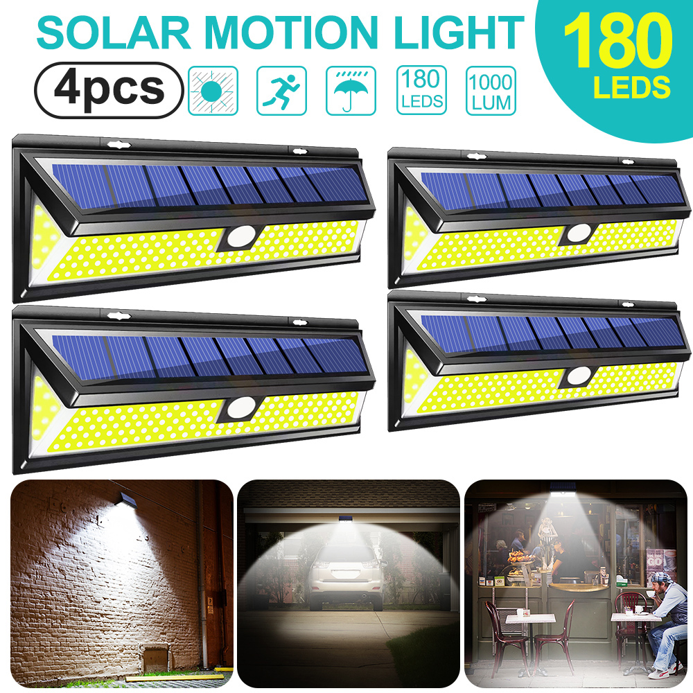 180 LED Solar Power Motion Sensor Light COB 3 Modes Outdoor Garden Yard Waterproof Energy Saving Pathway Solar Wall Lamp