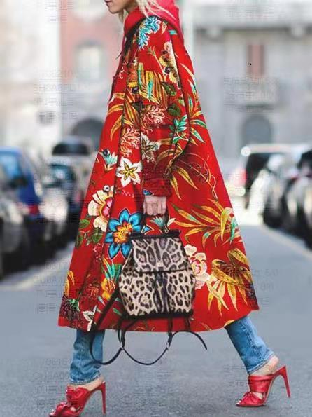 2019 Autumn Women's Daily Long Hoodie Printed Loose Coat Geometric Turndown Long Sleeve Polyester Fuchsia Light Blue Red   Trench