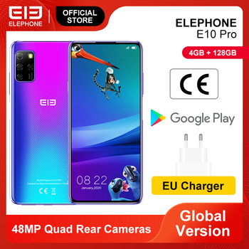 ELEPHONE E10 Pro Smartphone 4GB 128GB 48MP Quad Rear Cameras Octa Core 6.55 inch Screen 4000mAh Android 10 Mobile Phones NFC