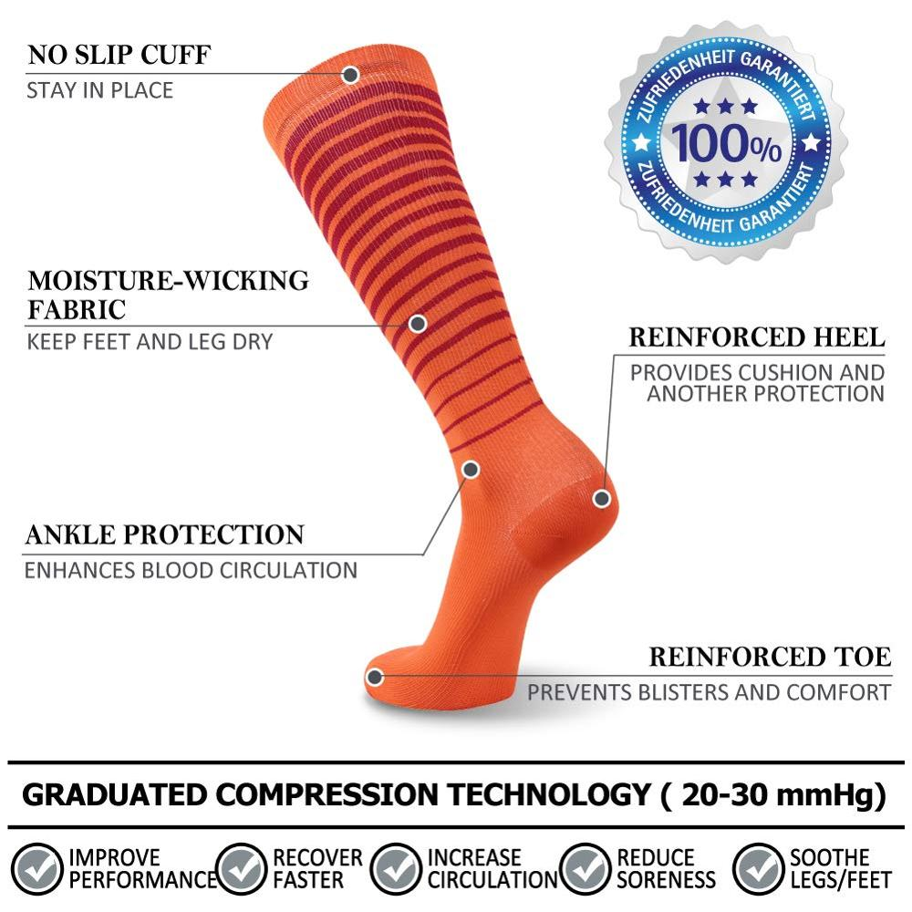 running - RANDY SUN Sports Compression Socks 10-20mmHg 40cm Knee High Edema Varicose Veins Pregnancy Travel Athlete Running Soccer Socks