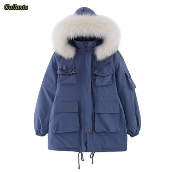 Guilantu Fur Collar Hooded Parka Mujer 2020 Winter Plus Size Loose Long Coat Female Thick Down Cotton Padded Winter Jacket Women large real fur collar women winter coat thick warm hooded down jacket duck down loose long outwear coat outdoors