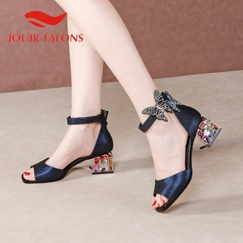 JOUIR TALONS 2020 New Fashion Genuine Leather Women Sandals Peep Toe Square Heels Crystal Zip Pumps Summer Casual Woman Shoes