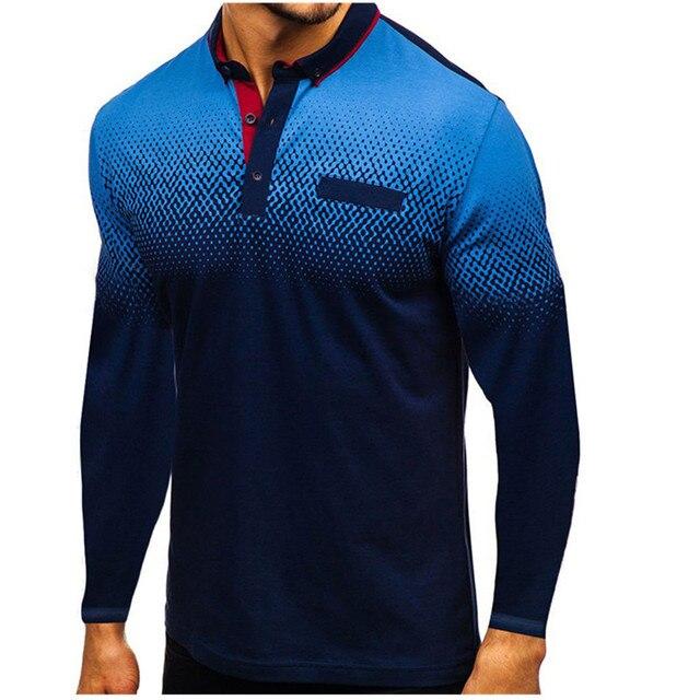 Новинка осени 2019, модная футболка поло для мужчин, хлопковая Повседневная рубашка поло с длинным рукавом, Мужская Высококачественная рубашка поло с отложным воротником