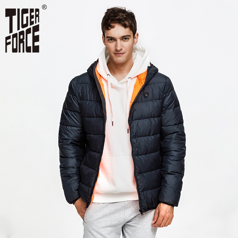 TIGER FORCE Men Puffer Jacket Autumn Winter Casual Hooded Coat Cotton Padded  Coat Men's Parkas Contrast Male Outerwear Clothing
