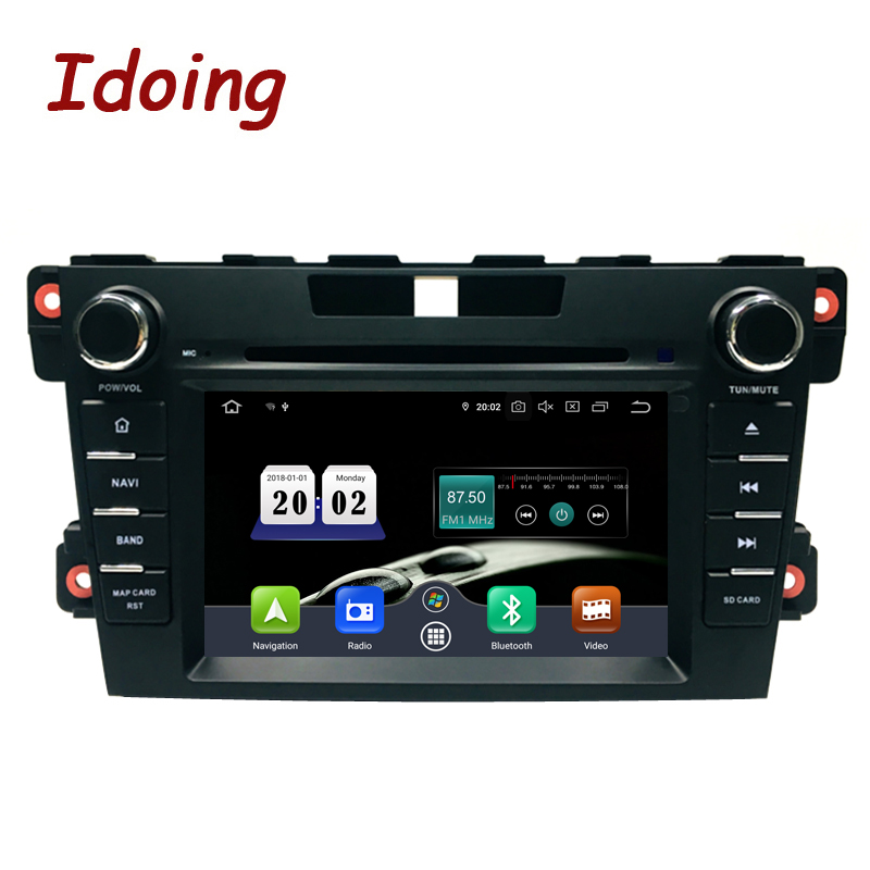 Idoing 2Din Steering Wheel Android 9.0 Fit mazda cx 7 CX 7 CX7 Car DVD Player 8Core 4G+64G GPS Navigation IPS Screen WiFi OBD2car dvd playerdvd car playermazda cx7 android -