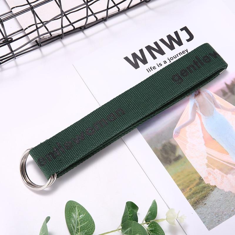 TagerWilen ремень стиль буквы напечатаны мода унисекс двойное D Кольцо холст ремень длинные джинсы ремни для женщин брезентовый мужской ремень - Цвет: GW-Dark Green