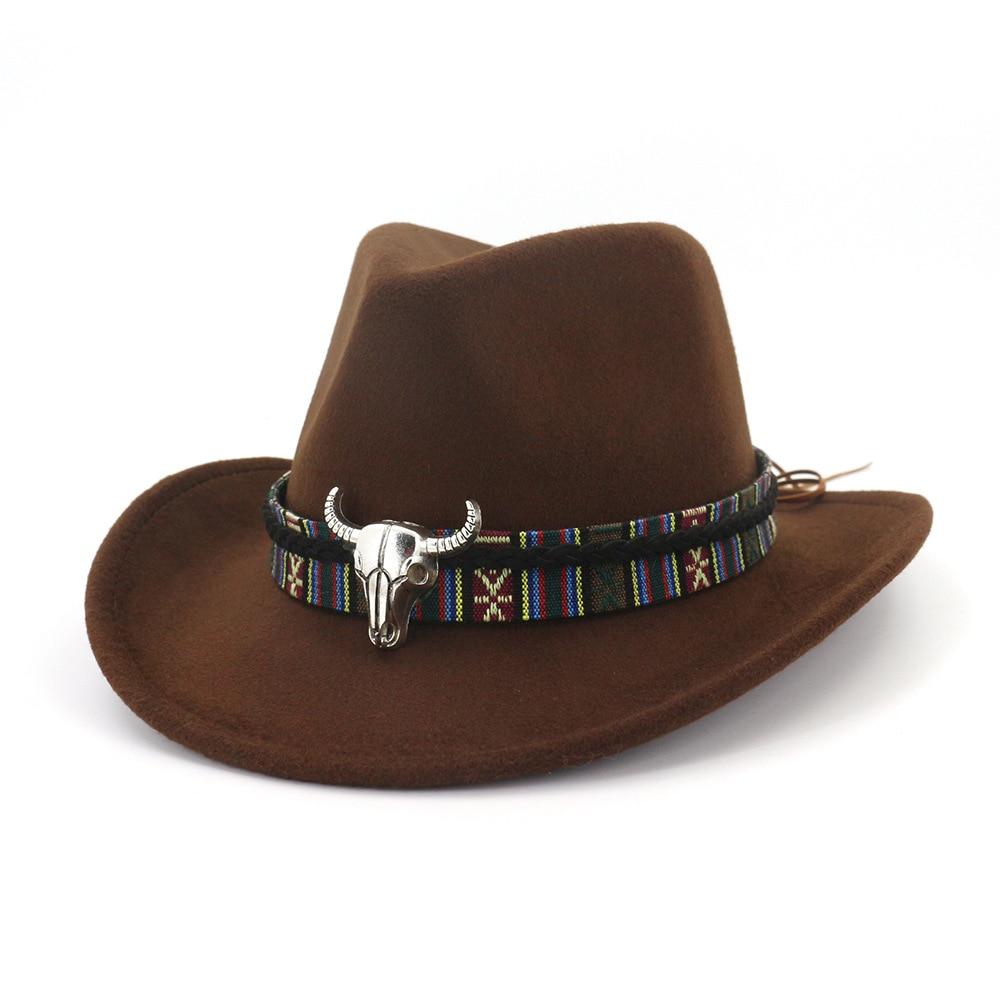 Fibonacci West Cowboy Hat Imitation Wool Felt Metal Bull Head Decoration Sombrero Fedora Men Women Hats
