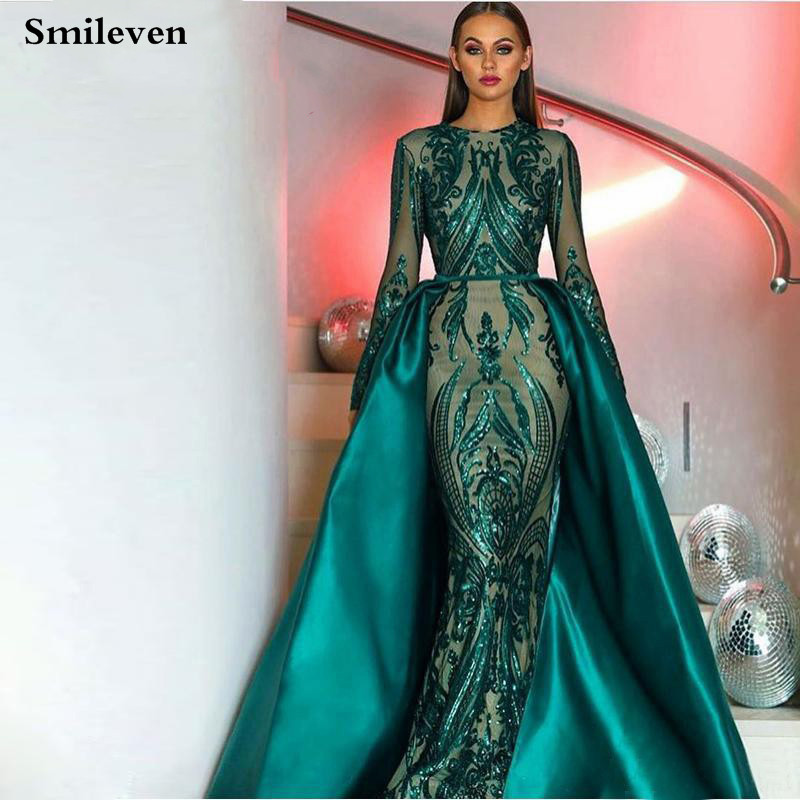 Smileven Green Muslim Mermaid Formal Evening Dress Long Sleeve Sequin Lace Prom Party Gown robe de soiree With Detachable Train