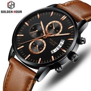 Мужские часы GOLDENHOUR лучший бренд класса люкс модные деловые мужские кварцевые часы водонепроницаемые спортивные мужские наручные часы Relogio ...