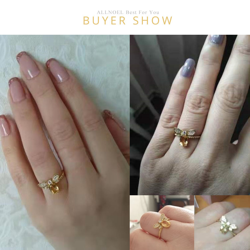 Hcba37644abe641f6a8be000935140bc5Z ALLNOEL Fine Jewelry Rings 925 Sterling Silver Natural Gemstone  Citrine Bee Engagement  Ring Set Wedding Silver Custom Jewellry