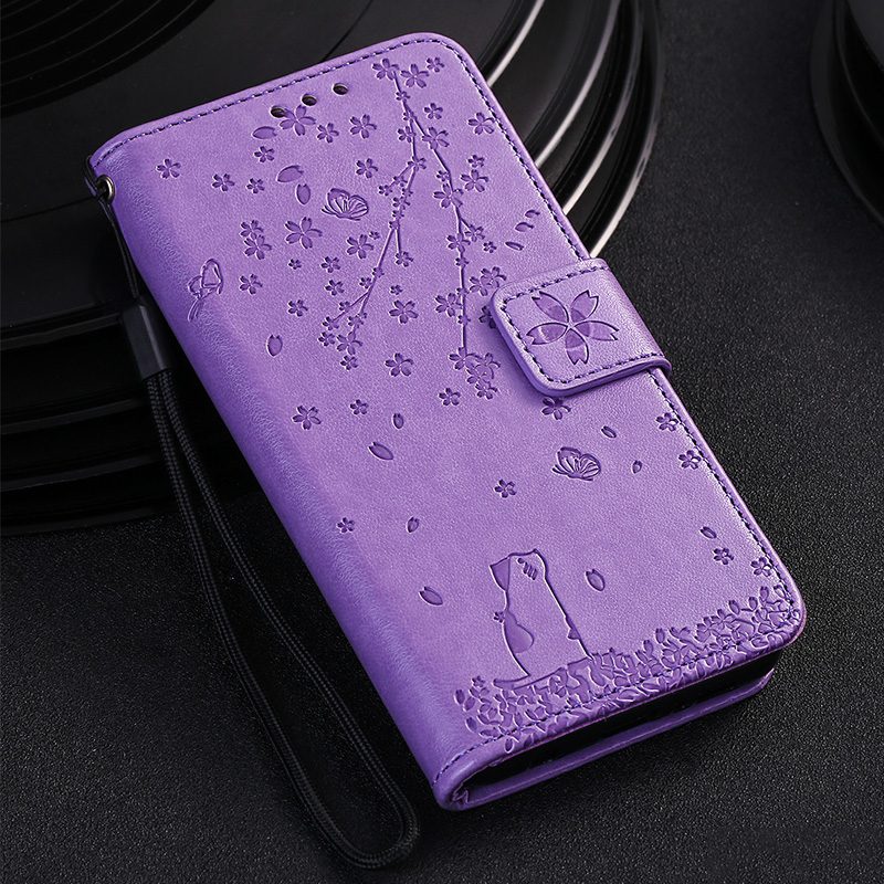 Cherry Cat Leather Cover Flip Wallet For <font><b>Huawei</b></font> Honor 9 10 Lite 20 Pro 8X 9X Hawei <font><b>Y5</b></font> Y6 Y7 <font><b>2018</b></font> P Smart 2019 Phone Coque Case image