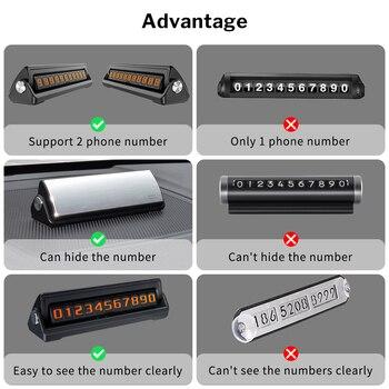 Deelife رقم هاتف السيارة لوحة بطاقة ركن السيارة المؤقتة مع 2 أرقام الهاتف المخفية Flippable